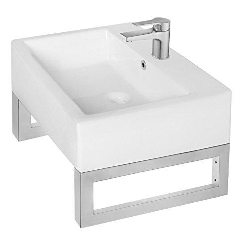 Wandkonsole & Handtuchhalter aus Edelstahl (Paarpreis) in 2 Größen und 2 Oberflächen (450x150x30mm, Chrom) (Waschbecken Handtuchhalter)