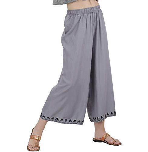 RADANYA Damen Palazzo Hose Weites Bein Hohe Taille Bestickte Pyjama Hose S-5Xl -