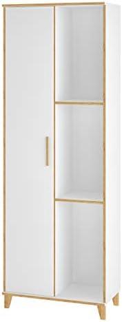 BRV MÓVEIS MDP 15mm/Pinus/Metallic Multi-Use Storage Cabinet, BE 67-160, White, H 36 x W 12 x D 187 cm