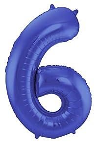 Folat 65926 - Globo con Forma de número (6 - 86 cm), Color Azul metálico Mate