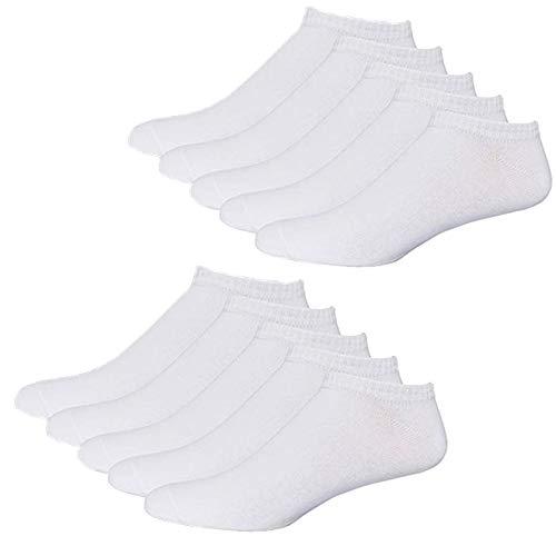 YouShow Sneaker Socken Herren Damen 10 Paar Kurze Halbsocken Quarter Baumwolle Unisex(39-42,Weiß)