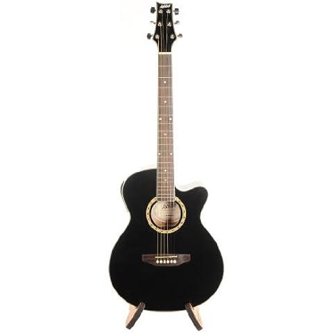 Ashton SL29CEQBK - Guitarra acústica con cuerdas metálicas (pastillas combinación, puente fijo, arce), color negro