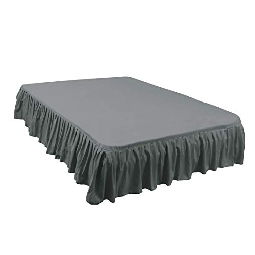 ZCHXD Bed Skirt Brushed Polyester Pleated Styling, with 14 Inch Drop Gray Queen Size Pleated Drop