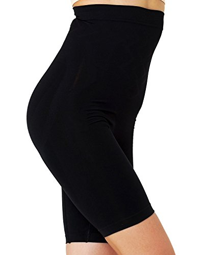 Formeasy Damen Shapewear Miederhose bauch weg stark formend Miederpants mit Bein Taillenformer Shaper angenehme figurformende Wäsche, Schwarz, XXX-Large (Frauen Bodys Unterwäsche)