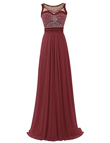 Dresstells Damen Perlen Rückenausschnitt Lange Chiffon Ballkleid Abendkleider Festkleider Burgundy