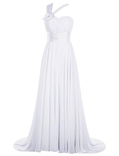 Dresstells, Robe de cérémonie Robe de soirée Robe de gala une épaule traîne moyenne Blanc