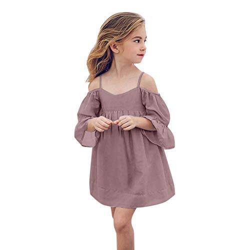 Tyoby Mädchen Kleid Schulterfreies Einfarbiges ausgestellten Ärmeln Kleid,Sommer Elegant Party Festkleid(Lila,110) (Little My Pony-kleinkind-kleid)