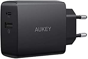AUKEY USB C Caricabatteria da Muro con 18W Power Delivery 2.0 & Quick Charge 3.0, Caricatore USB per iPhone XS/XS...