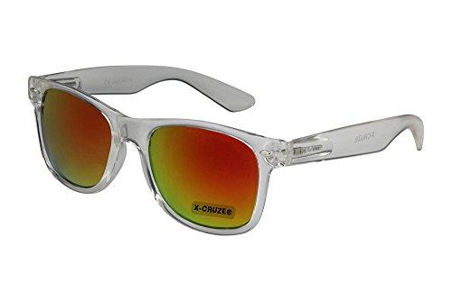 X-CRUZE® 8-052 X16 Nerd Sonnenbrille Style Stil Retro Vintage Retro Unisex Herren Damen Männer Frauen Brille Nerdbrille - transparent und rot-orange verspiegelt