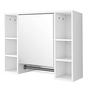 EUGAD Spiegelschrank Badezimmerspiegel Hängeschrank Badezimmer Wandschrank Badschrank mit 8 Ablagen mit Tür 80x20x60cm…