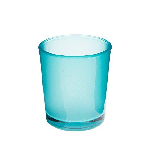 Vaso de cristal / Portavelas MALI, turquesa, mate, 6,5 cm, Ø 6 cm - Vidrio para velas / Vaso decorativo - INNA Glas
