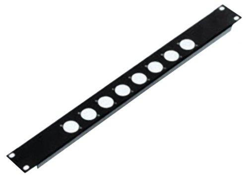 Schwarz High Quality 1U Rack Panel Mit Aussparungen für 8x D Größe XLR Buchsen