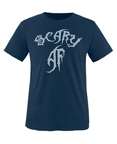Comedy Shirts - Scary Af - Halloween - Jungen T-Shirt - Navy/Eisblau Gr. 152-164