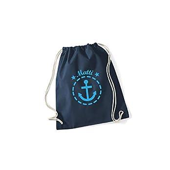 SupaRina personalisierter Rucksack Sportbeutel Sporttasche mit Namen und Motiv Anker, unterschiedliche Farben und Motive…