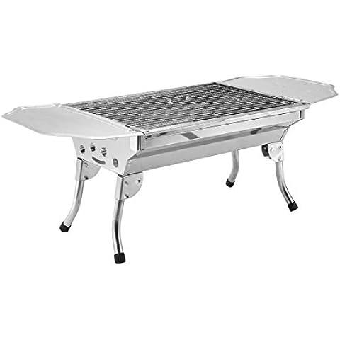 Acciaio inox spessore griglie barbecue barbecue di famiglia all'aperto barbecue grill con griglia di campeggio portatile pieghevole , 50*18*35 - Portable Grill All'aperto