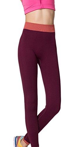 Bigood Pantalon de Sport Femme Jogging Yoga Loisir Legging Elastique Bordeaux