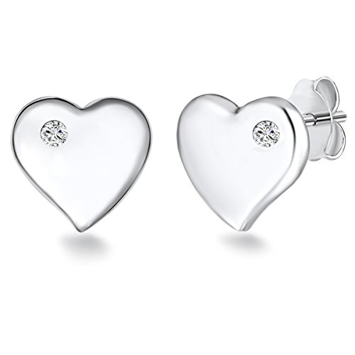 Rafaela Donata - Orecchini a perno a forma di cuore - Argento Sterling 925 con zircone, Orecchini con zircone, Orecchini, Orecchini in Argento Sterling, Gioielli d'argento - 60903072