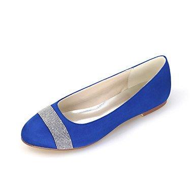 Wuyulunbi@ Scarpe donna raso Primavera Estate Ballerina scarpe matrimonio piatto punta tonda Strass scintillanti di glitter per la festa di nozze & Sera argento Blue