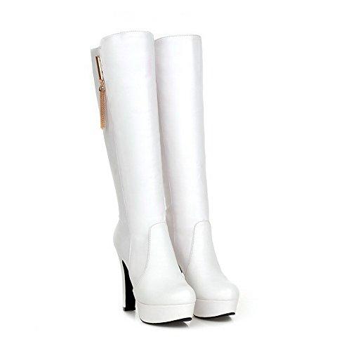 VogueZone009 Damen Hoher Absatz Rund Zehe Pu Leder Ziehen Auf Stiefel Weiß
