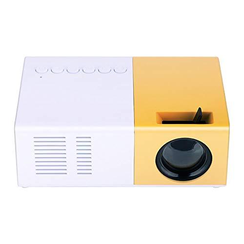 Eboxer Mini stilvolle Heimkino Projektor Beamer tragbare LED-Projektor HD Unterstützung 1080 P HDMI VGA-Multimedia-Player für Haus,Büro,Camping usw.(Weiß+Gelb) - Tragbar Multimedia-projektor