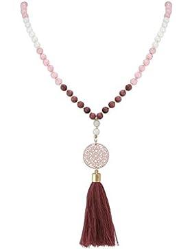 Gemshine - Mala Halskette - Anhänger - Vergoldet - Edelstein - Rose - Beige - 80 cm