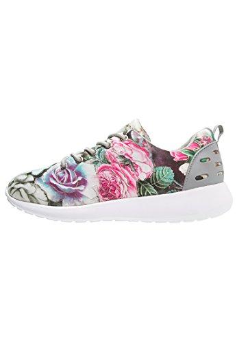 Anna Field Sneaker Damen Turnschuhe Low in Grau mit Blumenmuster, Größe 39 (Sneaker Mit Blumen, Frauen)