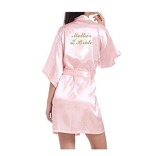 Braut-robe (Morbuy Damen Braut Brautjungfer Robe Pure Farbe Satin Weiche Kimono Hochzeitsfeier Robe Silk Kleid Morgenmantel (L, Mother of The Bride Rosa))