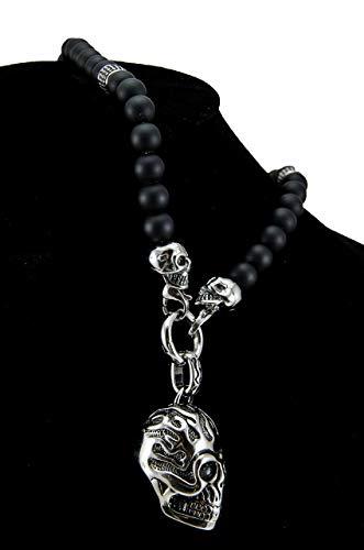 Herren Männer Damen Halbedelstein Totenkopf Skull Halskette Rosenkranz Onyx Schmuck schwarz Perlenkette Gebetskette Schädel Stein Rosenkranz