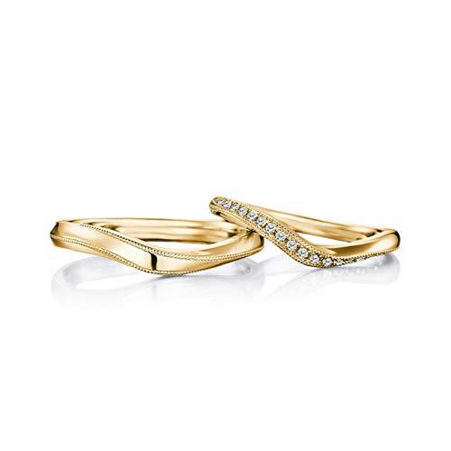 KnBoB Alliance de Fiançailles Tordu Diamant 0.12ct Bague Or 18k Taille Femme 54 & Homme 55