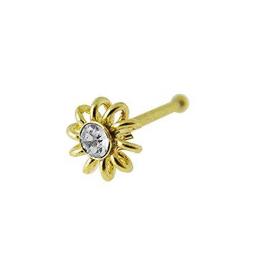 9K Solid Gelb Gold klar Crystal Stein Spule Blume 22 Gauge Nase Knochen Nase Stud Piercingschmuck