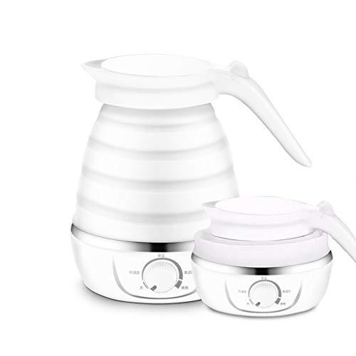 Faltbarer Wasserkocher - tragbarer Silikon-zusammenklappbarer Camping-Wasserkocher 110-220V 600ML (Weiß)