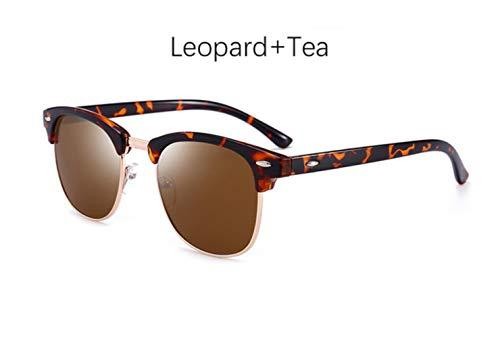 Cranky Orange Herren Sonnenbrille Retro Rivet Shades Markendesigner Sonnenbrille für Herren Classic Herren Spiegel Night Vision Driving Sunglasse, Leopard Tea