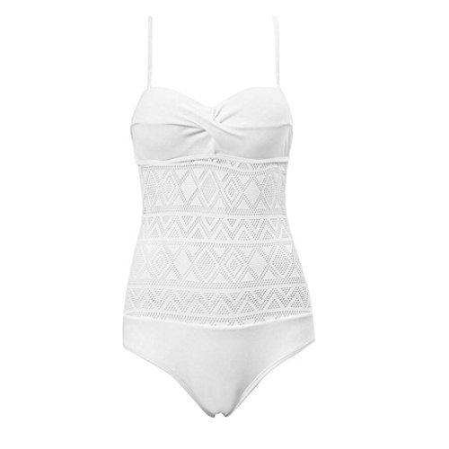 PRIDE S Hohle Normallack-einteiliger Badeanzug-Bikini-Damen-Badeanzug-heißer Badeanzug-Strand-Badeanzug Weiß