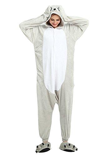 Mystery&Melody Süßes Einhorn Overalls Jumpsuits Pyjama Fleece Nachtwäsche Schlaflosigkeit Halloween Weihnachten Karneval Party Cosplay Kostüme für Unisex Kinder und Erwachsene (S, Sea Lion)