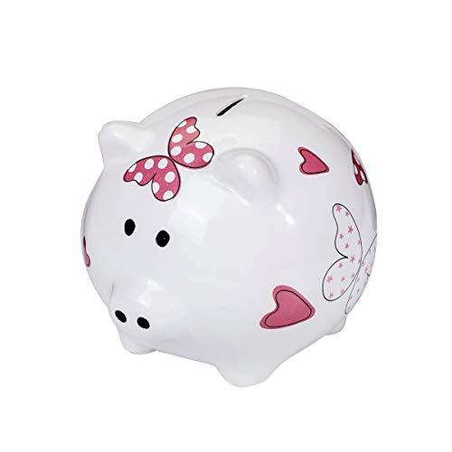 SPOTTED DOG GIFT COMPANY Süß Großes Sparschwein XL Spardose Weiß Keramik Schwein Piggy Bank mit Rosa Herz und Schmetterrlings Geschenk für Mädchen Kinder Erwachsener Teenager mit Box