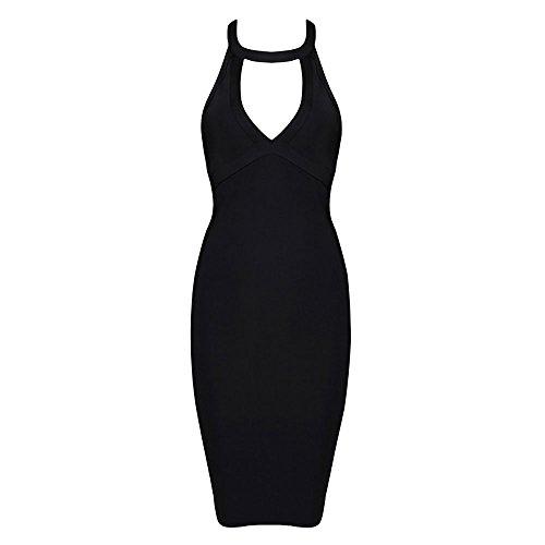 HLBandage Frauen Halter Ansatz Schlüsselrozette Rückenfreie Kunstseide Verband-Kleid(S,Schwarz) Bandage Kleid