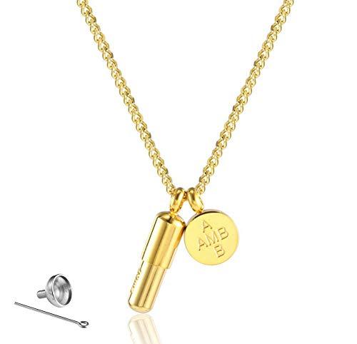 Edelstahl Kapsel Feuerbestattung Urne Schmuck Halskette & Anhänger für Asche mit Trichterfüller Kit,Gold 824 Kit