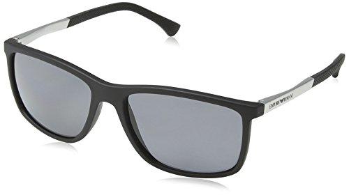 Emporio Armani Unisex 0ea4058 506381 58 Sonnenbrille, Schwarz (Black Rubber, Large (Herstellergröße