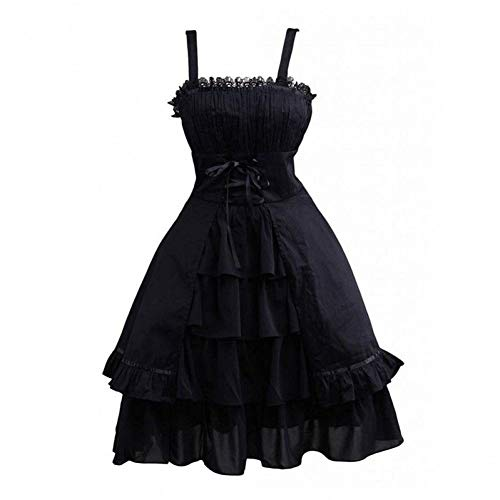 Baumwolle Schwarzer Spitze Bogen (QAQBDBCKL Sommer Lolita Dress Womens Gothic Style Baumwolle Schwarz Ärmellose Rüschen Bogen SpitzeNette Mädchen Lolita Dress)