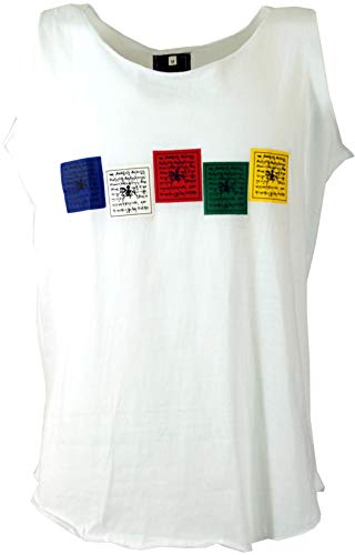 Guru-Shop Tibet & Buddhist Art Tank Topt, Herren, Gebetsfahne/Weiß, Baumwolle, Size:M, Tank Tops Alternative Bekleidung