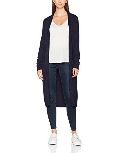 Vila Clothes Damen Strickjacke Viril L/S Long Knit Cardigan-Noos, Blau (Total Eclipse Detail:Melange), 38 (Herstellergröße: M)