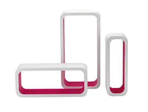 King home m1105004/c set 3 pezzi mensola rettangolare stondata in mdf bicolore, bianco/fucsia, 40x10x20h 35x10x15h 30x10x10h