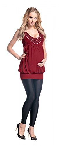 Happy Mama Donna prémaman vestito elasticizzato fondo a palloncino 024p Crimson