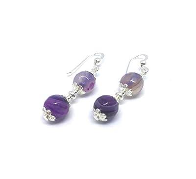 Boucles d'oreilles en argent et agate veinée violet, perles de 8 mm