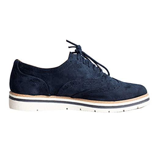 Zapatos Cuero Casual Mujer Zapatos Planos Cordones