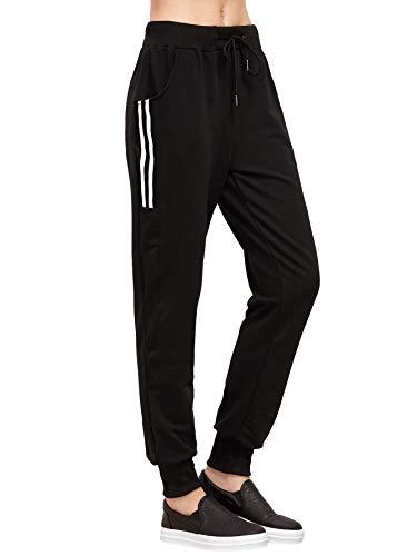 SOLY HUX Pantalones Deportivos para Mujer, Pantalones Deportivos,Negro XXL