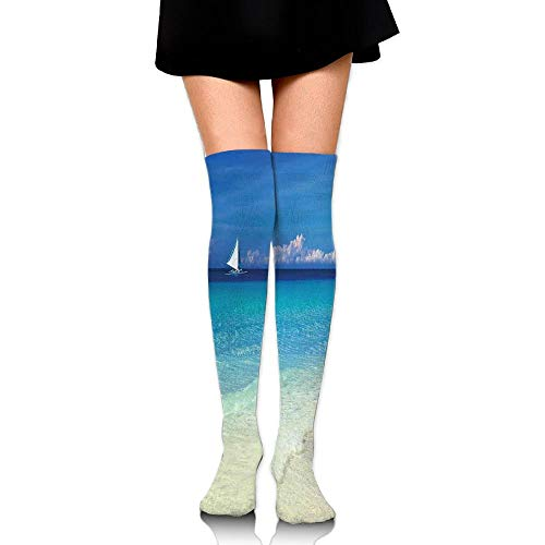 Juzijiang Exotic Tropic Beach In Philippines Island Horizon Summer Paradise Concept Women's Fashion Over The Knee High Socks (65cm) -