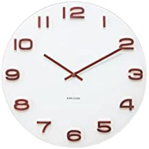 Karlsson Vintage-Orologio da parete con cassa 6x35x35 cm bianco e rosso