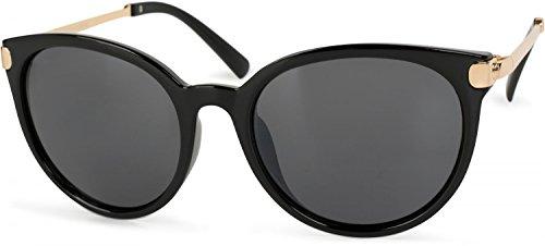 styleBREAKER Sonnenbrille mit Katzenaugen Cat Eye Gläsern und Metall Bügel, runde Glasform, Damen 09020073, Farbe:Gestell Schwarz-Gold/Glas Grau getönt