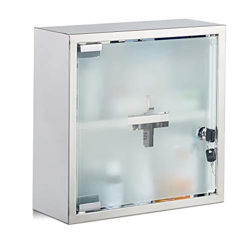 Relaxdays Medizinschrank Edelstahl, quadratisch, 2 Fächer, abschließbar, Arzneischrank, glänzend, HBT 30x30x12cm, Silber - Glas Hausapotheke